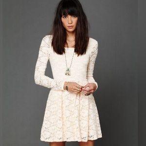 Free People Long Sleeve Ivory Rose Garden Dress